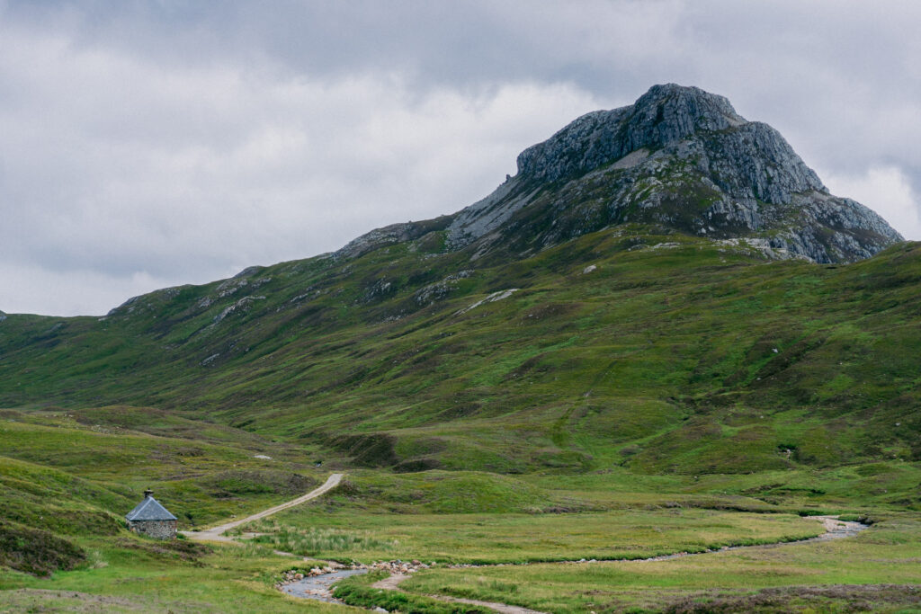 Lairig Leacach bothy beneath one of Scotand's many corbetts - Sgurr Innse