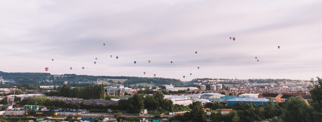 Ballons over the 2017 edition of Bristol's International Balloon Fiesta with the suspension bridge visible just off center.